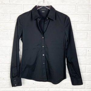 THEORY Larisa Black Button Tailored Shirt| Larisa